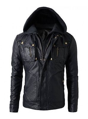 Men's Brando Double Zip Slim Fit Genuine Leather Jacket with Detachable Hood