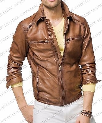 Mens Vintage Biker Style Motorcycle Cafe Racer Leather Jacket