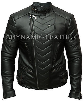 MENS CLUB BLACK BIKER REAL LEATHER JACKET VINTAGE SLIM FIT RETRO MOTORCYCLE
