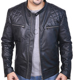 David Beckham Black Motorcycle Genuine Real Leather Slim Fit Biker Jacket