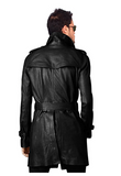MEN'S STYLISH BELTED BLACK LONG COAT, LEATHER TRENCH COAT, PEA COAT-BNWT
