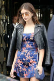 Kaia Gerber Moto Biker Real Leather Jacket