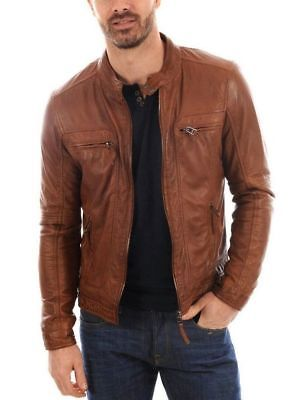 061498df0 New Men s Genuine Lambskin Leather Jacket TAN Slim Fit Biker ...