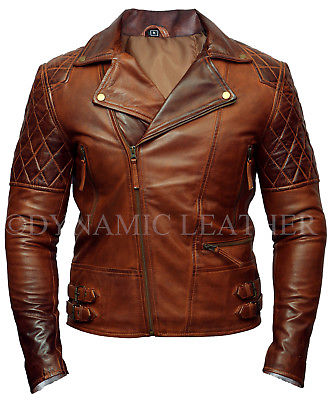Mens Biker Classic Diamond Motorcycle Brown Distressed Vintage Leather Jacket