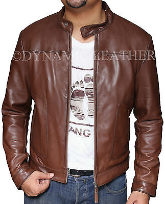 Men's Biker Motorcycle Brown Real Leather Jacket - BNWT