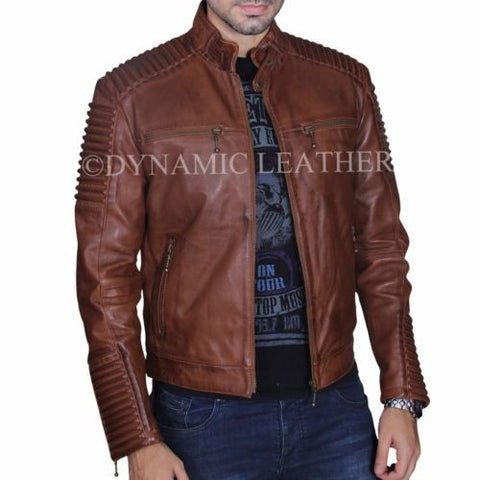 Mens Brown Vintage Antique Cafe Racer MC motorbike Leather jacket