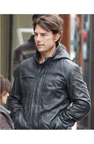 Ghost Protocol Mission Impossible Black Men's Hooded Movie Real Leather Jacket