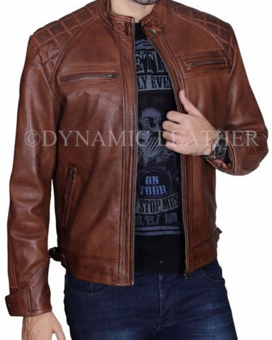 40bb89c5d5bb Men s Biker Quilted Vintage Distressed Motorcycle Cafe Racer Leather J –  Majestic Leather