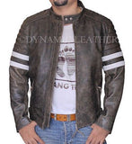 Vintage Fight Club Leather Motorcycle Biker Jackets with white stripes