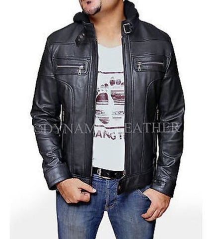 Racing Jacket Motorbike Leather Biker Jacket Detach Hood - ALL SIZES