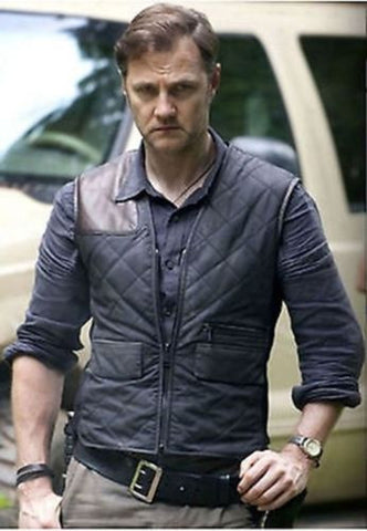 THE WALKING DEAD GOVERNOR - DAVID MORRISSEY BLUE VEST MOTORBIKER JACKET