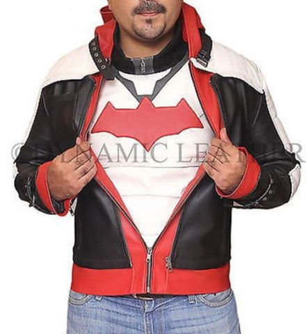 Jason Todd Red Hooded BATMAN ARKHAM KNIGHT Costume Gaming Leather Jacket & Vest