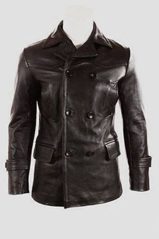 German Submariner WW2 Vintage Men's Black Real Leather Jacket/Coat