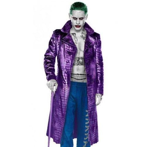 Jared Leto Joker Costume Trench Coat Suicide Squad Crocodile Faux Leather Coat.