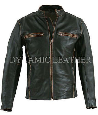Biker Motorcycle Leather Jacket Vintage Aged Brown-BNWT
