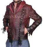 Arrow Arsenal Red Colton Haynes Hooded Real Leather Costume Jacket