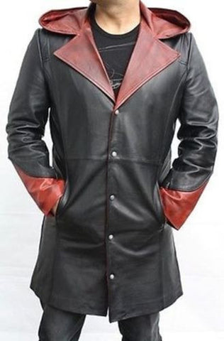 DEVIL MAY CRY 5 - DANTE 100% GENUINE COWHIDE LEATHER COSTUME TRENCH COAT / JACKET
