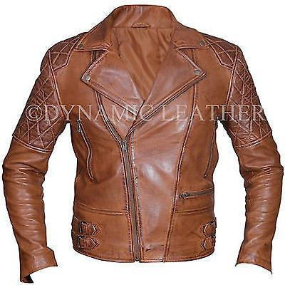 Classic Motorcycle Biker Brown Distressed Vintage Leather Jacket