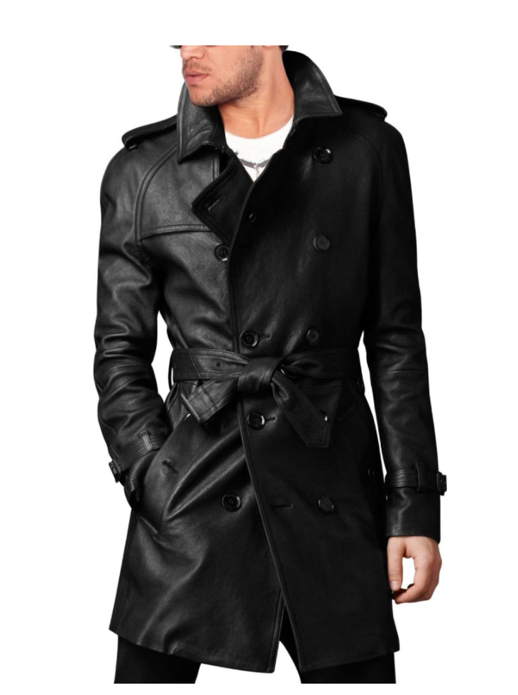 8ad09429d Handmade men's leather trench coat, belted long leather coat, Mens jacket