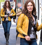 TEENAGE MUTANT NINJA TURTLES MEGAN FOX APRIL O'NEIL YELLOW LEATHER COSTUME JACKET