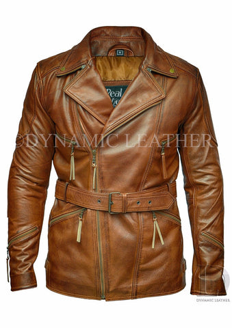 Men's Brown 3/4 Motorcycle Biker Long Cow Hide Leather Jacket