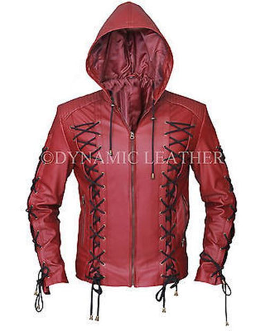 Arrow Arsenal Red Colton Haynes Hooded Costume Leather Jacket