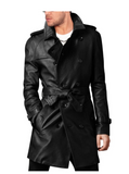 Handmade men's leather trench coat, belted long leather coat, Mens jacket