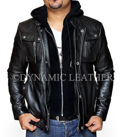 New Men's Motorcycle Brando Style Biker Real Leather Hoodie Jacket - Detach Hood