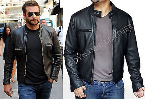 New Stylish Bradley Cooper Fashionable Biker Real Leather Jacket- BNWT