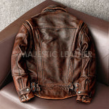 Men's Biker Vintage Motorcycle Distressed Brown Cafe Racer Leather Jacket