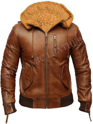 Mens Biker Retro Brown Detach Hooded Fur Real Leather Bomber Motorcycle Jacket