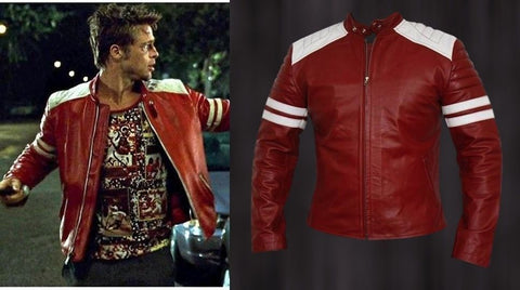 FIGHT CLUB FC RED MOTOR BIKER STYLISH REAL LEATHER JACKET