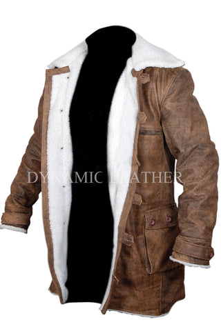 Men's BANE - Dark Knight Rises Vintage Cow Hide Distressed Leather Coat/