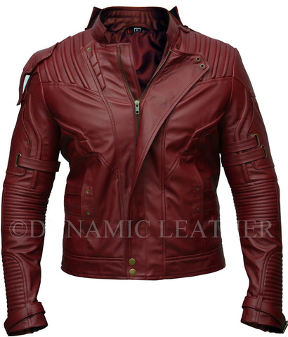 Guardians of the Galaxy 2 Star Lord Chris Pratt Maroon Faux Leather Jacket