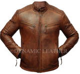 Mens Biker Club New Classic Diamond Vintage Distressed Brown Real Leather Jacket