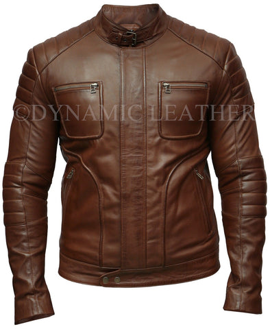 Mens Biker Motorcycle Vintage Brown Pocket Cafe Racer Soft Real Leather Jacket