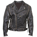 CLASSIC VINTAGE DISTRESSED TERMINATOR BRANDO MEN'S BIKER COW LEATHER JACKET