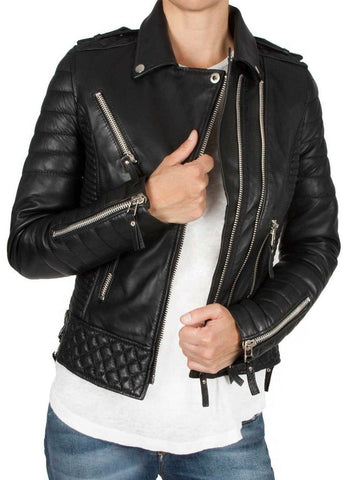 Black Women/'s Slim Fit Biker Diamond Quilted Kay Michaels Real Leather Jacket