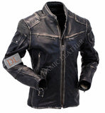 Men's Vintage Biker Style Motorcycle Cafe Racer Distressed Leather Jacket