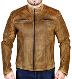 Men's Elite Herran Biker Motorcycle Distressed Tobaccos Leather Jacket