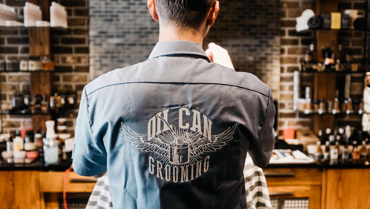 Oil Can Grooming City Barbers custom dickies work shirts