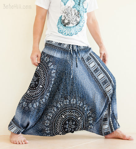 African Tribal Harem Pants Unisex Low Crotch Yoga Trousers Graphite Blue wide