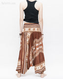 African Tribe Design Harem Pants Dashiki Tribal Print Unisex Low Crotch Baggy Yoga Trousers Brown II back