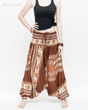 African Tribe Design Harem Pants Dashiki Tribal Print Unisex Low Crotch Baggy Yoga Trousers Brown II front