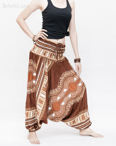 African Tribe Design Harem Pants Dashiki Tribal Print Unisex Low Crotch Baggy Yoga Trousers Brown II side