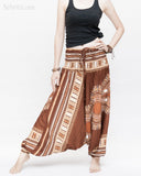 African Tribe Design Harem Pants Dashiki Tribal Print Unisex Low Crotch Baggy Yoga Trousers Brown II wide