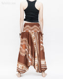 African Tribe Design Harem Pants Dashiki Tribal Print Unisex Low Crotch Baggy Yoga Trousers Brown back
