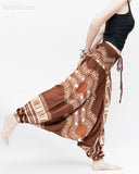 African Tribe Design Harem Pants Dashiki Tribal Print Unisex Low Crotch Baggy Yoga Trousers Brown dance