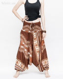 African Tribe Design Harem Pants Dashiki Tribal Print Unisex Low Crotch Baggy Yoga Trousers Brown front