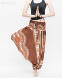African Tribe Design Harem Pants Dashiki Tribal Print Unisex Low Crotch Baggy Yoga Trousers Brown namaste